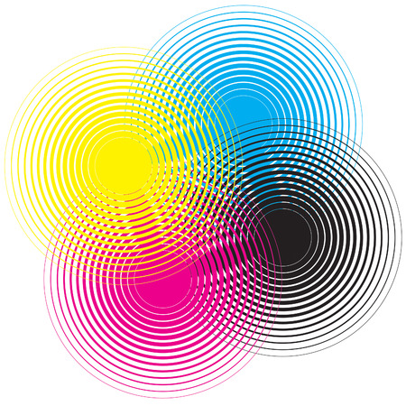 Cmyk circle texture on a white background