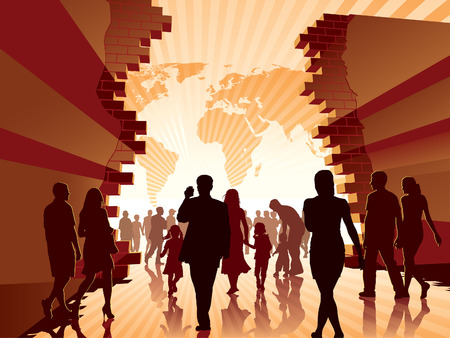 Mensen gaan naar de nieuwe betere wereld., conceptuele afbeelding.