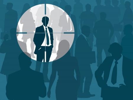 Multitud y un hombre elegido, ilustración conceptual de negocios.