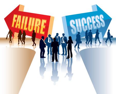 Los empresarios están de pie delante de dos señales de dirección.