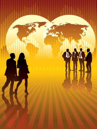 Empresarios en frente de mapa del mundo y el gráfico en el fondo, el mapa base es de la Agencia Central de Inteligencia sitio Web. Ilustración de vector