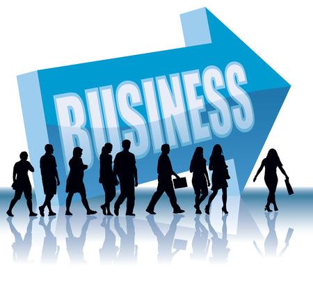 La gente se va a una dirección - Negocios, negocios ilustración conceptual.