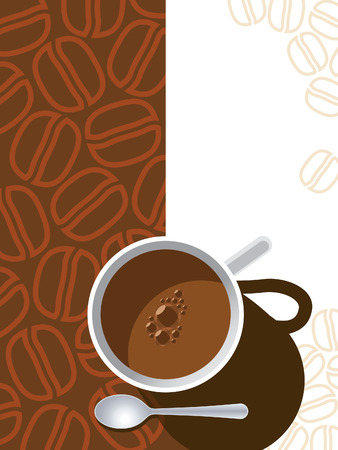 Coffee cup on a brown background with coffee beans. Stock Vector - 3947192