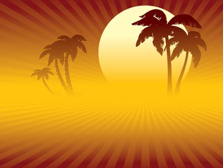 Tropische zonsondergang, een woestijn of een strand en oase met palmbomen.