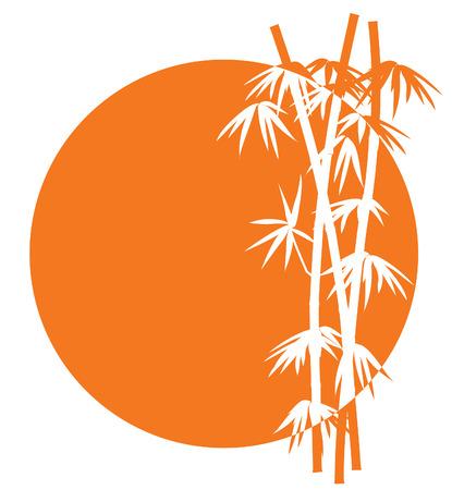 Tramonto tropicali e bambù albero segno, illustrazione vettoriale Vettoriali