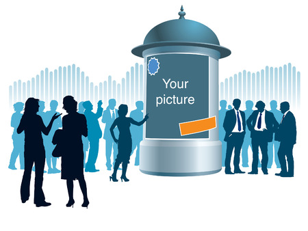 People are standing next to an advertising column, a graph in the background, conceptual business illustration.