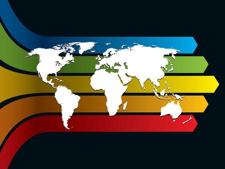 White carte du monde sur un fond arc-en-ciel, illustration conceptuelle entreprise. La carte de base est de la Central Intelligence Agency site Web.