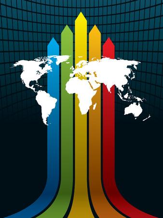White carte du monde sur un fond arc-en-ciel. La carte de base est de la Central Intelligence Agency site Web.