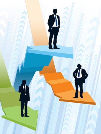 Businessmen are riding on large graphs, conceptual business illustration.