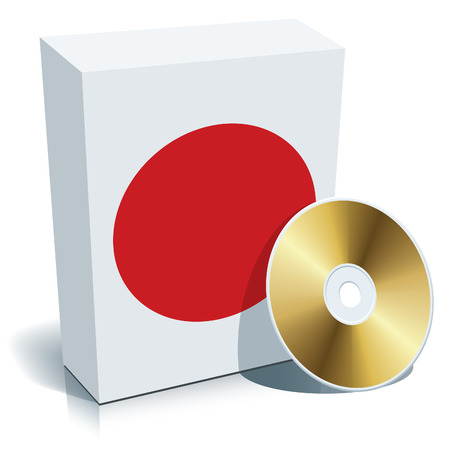 Japanese software box with national flag colors and CD.