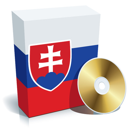 Slovak software box with national flag colors and CD.