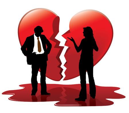 Dode liefde. Mensen praten, gebroken hart op de achtergrond.