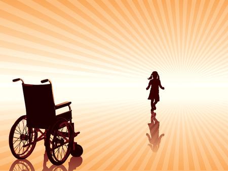 Terugvordering, lege rolstoel en kind gaat naar de nieuwe betere toekomst. Vector Illustratie