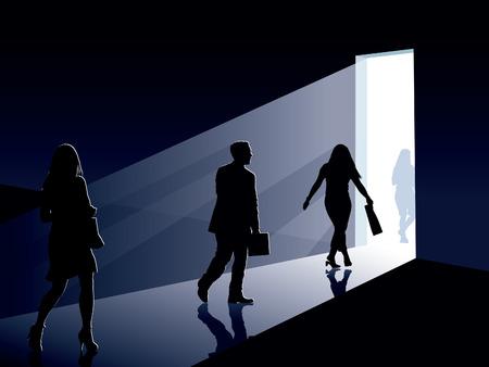 La gente sta andando a una porta aperta, illustrazione concettuale imprese.