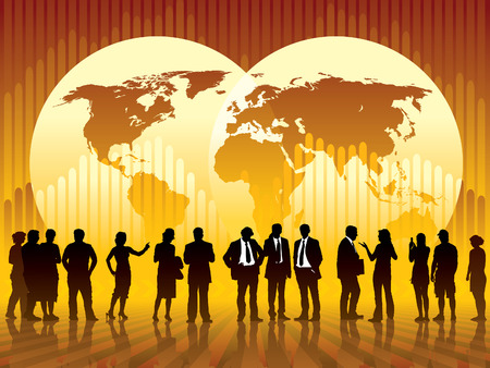 People are talking, world map and a graph in the background, conceptual business illustration. The base map is from Central Intelligence Agency Web site. Ilustração