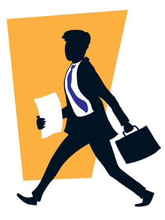 Apuesto hombre de negocios exitoso caminar con su maleta. Ilustración de vector