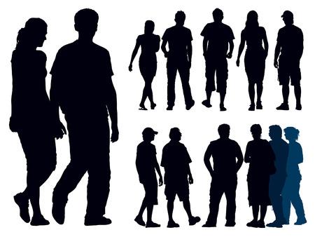 Un conjunto de siluetas de personas. Ilustración vectorial. Foto de archivo - 5330218