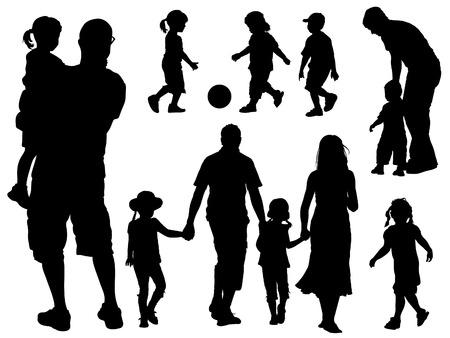 Une série de parents et d'enfants des silhouettes. Vector illustration.