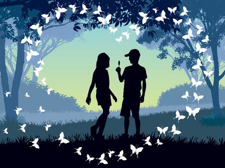 Jonge jongen en een meisje in een park. Vector Illustratie