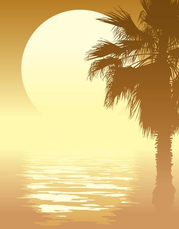 Tropical Sonnenuntergang mit Palmen am Strand.