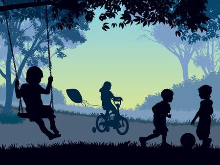Niños jugando en un parque. Ilustración del vector.