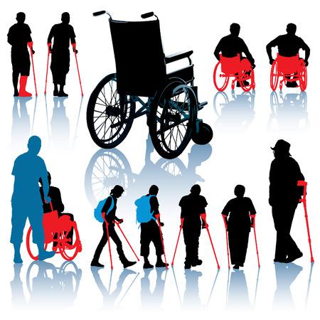 Un conjunto de sillas de ruedas y personas con discapacidad siluetas de Ilustración de vector