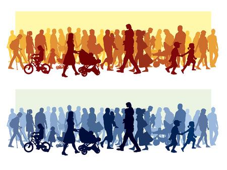 Crowd of people walking on a street.