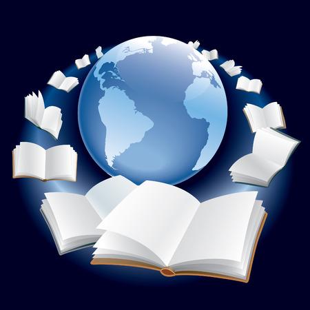 Abrir los libros están volando planeta Tierra en el espacio.