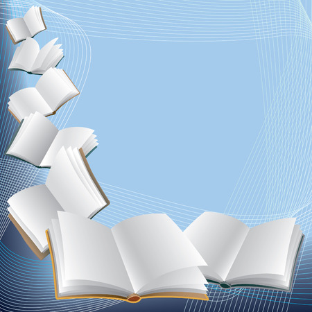 Open flying books on abstract blue background. Ilustracja