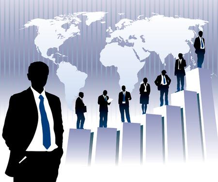 Las personas de éxito están de pie en un gráfico grande, mapa del mundo en el fondo. El mapa base es de la Agencia Central de Inteligencia sitio Web.