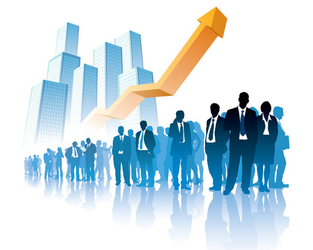 Businesspeople are standing in front of a large graph, high buildings in the background.