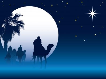 Geboorte scène met wijzen op kamelen gaan dwars door de woestijn