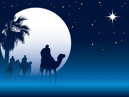 Nativity scene with wise men on camels going through the desert 免版税图像 - 5909779