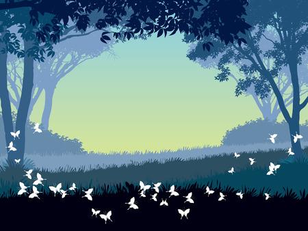 Abendrot in Park. Bäume und fliegenden Schmetterlinge. Illustration.