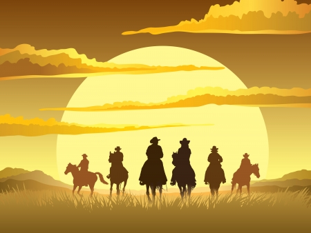 Team of cowboys silhouette galloping against a sunset background