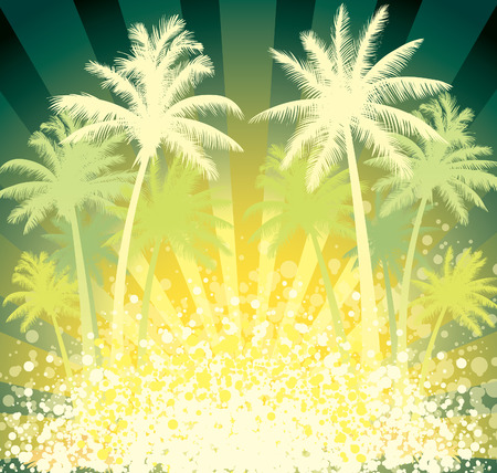 Summer tropical background, coconut palm trees and sun