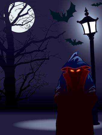 Demonic nightmare at dark Halloween night