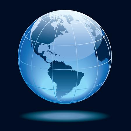 Mundo mostrando la tierra con los continentes del Norte y América del Sur.