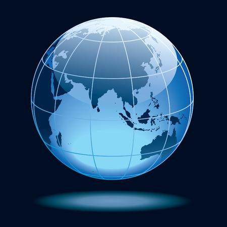 Wereld bol weer gegeven van de aarde met continenten: Azië met Afrika en Australië.