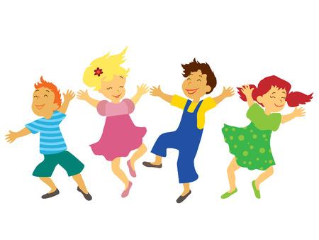 Los niños con caras sonrientes están jugando, saltando y bailando.