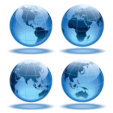 Vier Globen, die Erde mit allen Kontinenten zeigen.
