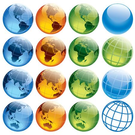Seize globes colorés montrant la terre avec tous les continents.  Vecteurs