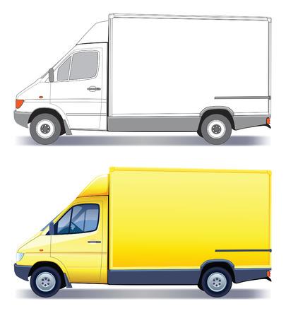 Gele bedrijfs voer tuig - bestel wagen - gekleurd en lay-out  Vector Illustratie