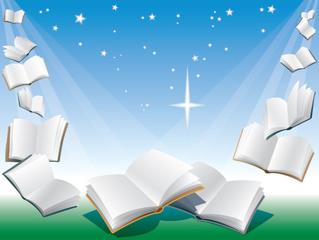 Open flying books, blue background with sunshine.