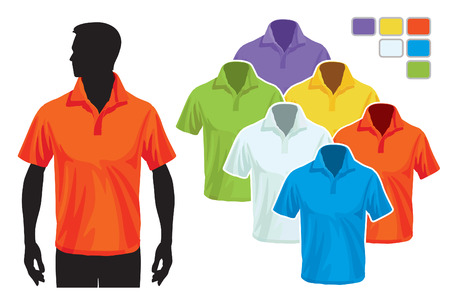 Man body silhouette with colorful collection of polo shirts Vetores