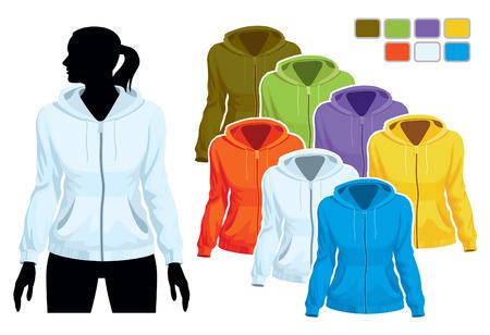 Frau Körper Silhouette mit bunte Sammlung von sweatshirts  Standard-Bild - 7788103