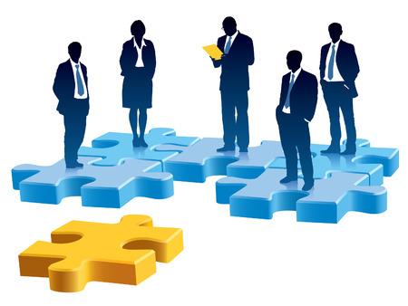 Menschen stehen auf farbigen Stücke des Puzzlespiels. Standard-Bild - 7788112