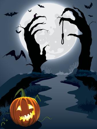 Colina scary Halloween, ilustración para la fiesta de Halloween