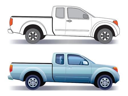 White land vehicle - pick-up truck - colored and layout