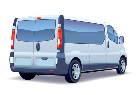 Commercial vehicle - silver passenger minibus on a white background.